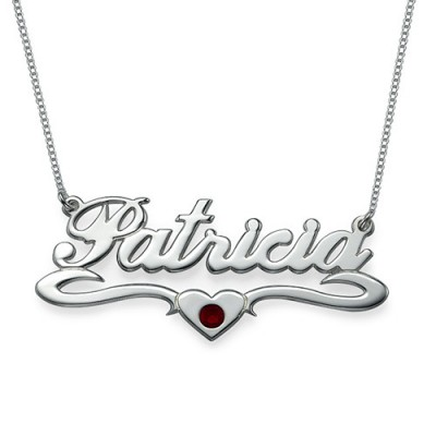 18CT White Gold Middle Heart Name Necklace