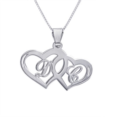 Solid White Gold Couples Hearts Pendant