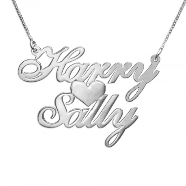Solid Gold Two Names Heart Love Name Necklace