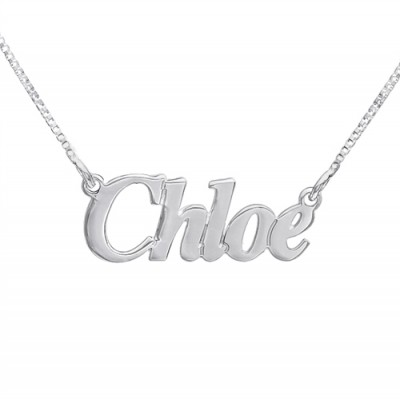 Solid Gold Small Angel Style Name Name Necklace