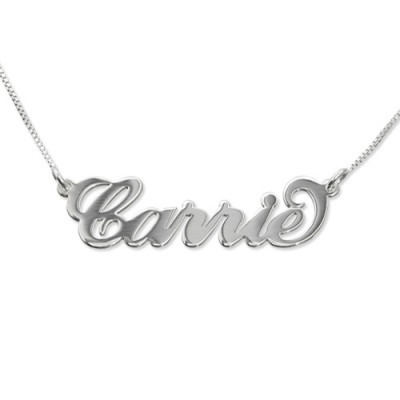 Solid Gold Small Name Necklace - Carrie Style