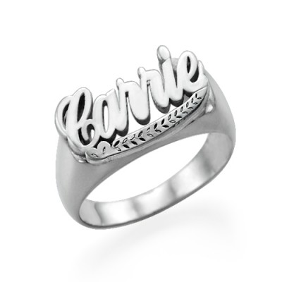 18CT Solid White Gold Name Ring Signet Ring