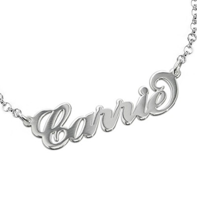 18CT White Gold Classic Carrie Name Necklace