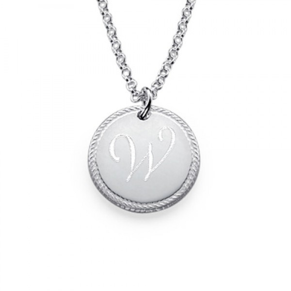 18CT Gold Circle Initial Necklace