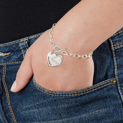 18CT White Gold Double Heart Charm Bracelet/Anklet