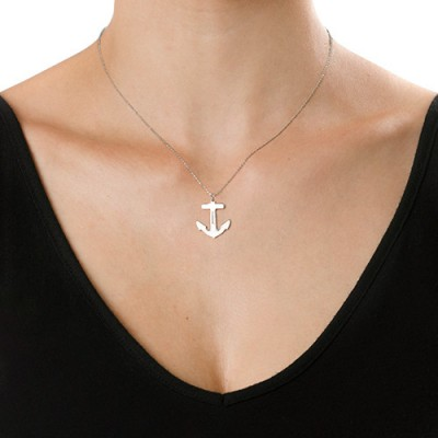 18CT White Gold Engraved Anchor Necklace
