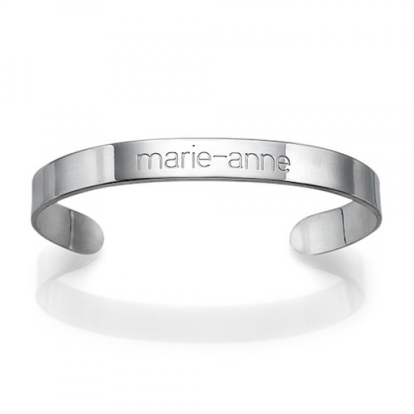 White Gold Engraved Cuff Bracelet