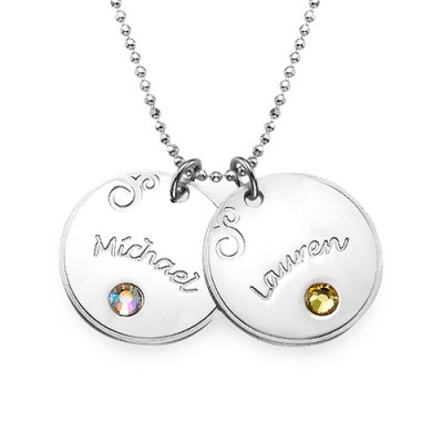 18CT White Gold Engraved Necklace with Birthstone