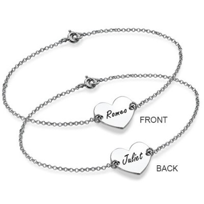 18CT White Gold Engraved Heart Couples Bracelet/Anklet