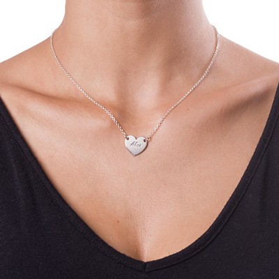 18CT White Gold Engraved Heart Necklace