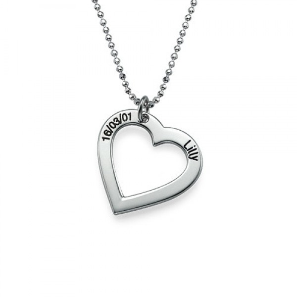 18CT White Gold Engraved Heart Necklace-One Pendant/Two Pendants/More Pendants