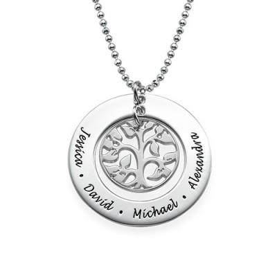 Solid Gold Family Tree Name Necklace