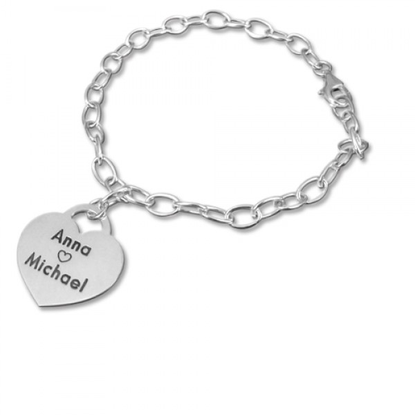 18CT White Gold Heart Charm Bracelet/Anklet