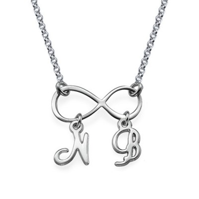 18CT White Gold Infinity Necklace with Initials