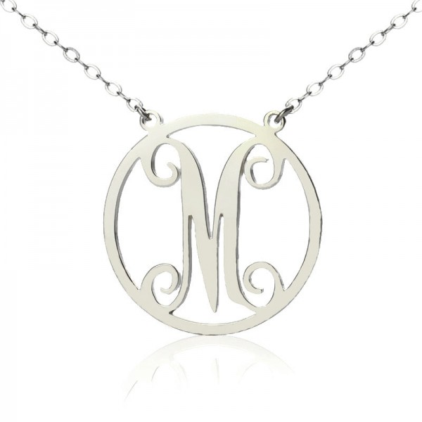 18CT White Gold Small Single Circle Monogram Letter Necklace