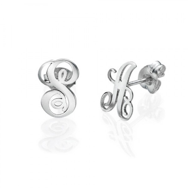 18CT Gold Initial Stud Earrings