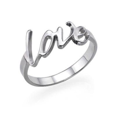 18CT White Gold Love Ring