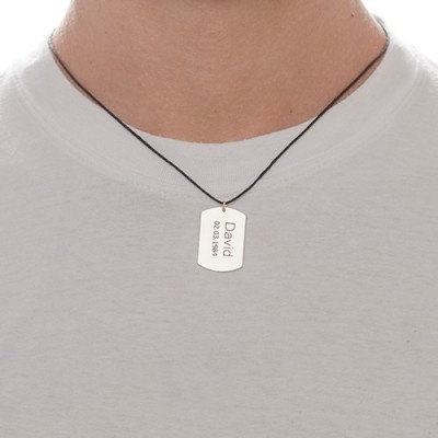 18CT White Gold Men's Dog Tag Engraved Necklace