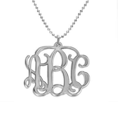 18CT White Gold Initials Monogram Necklace