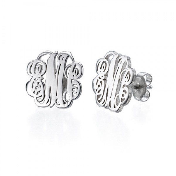 18CT White Gold Monogram Stud Earrings