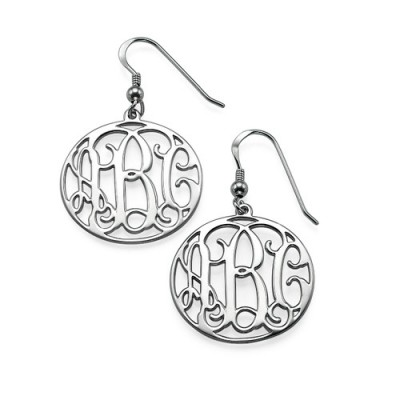 18CT White Gold Monogrammed Earrings
