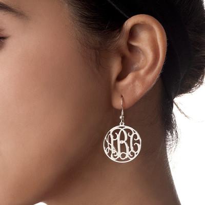 18CT White Gold Monogrammed Earrings