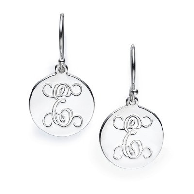 18CT White Gold Personalised Initial Earrings