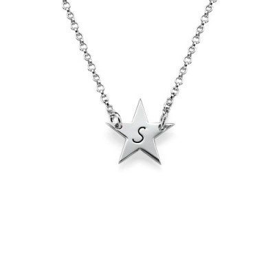 18CT White Gold Star Initial Necklace