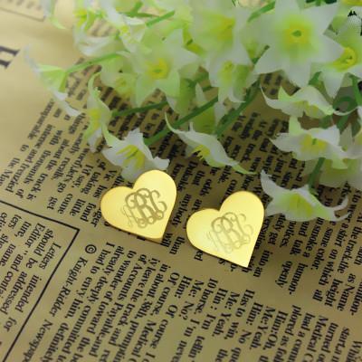 Heart Monogram Earrings Studs Cusotm Solid 18CT Gold
