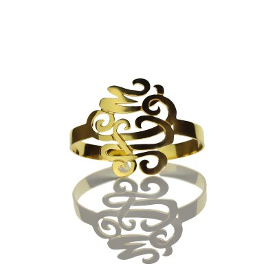 Monogram Cuff Bracelet Hand Write - 18CT Gold