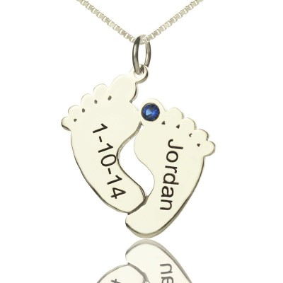 Solid Gold Memory Feet Necklace with Date Name