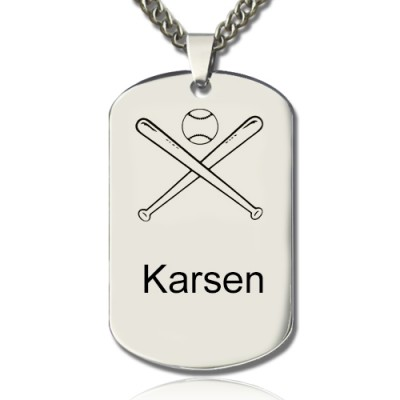 Solid White Gold Baseball Dog Tag Name Necklace