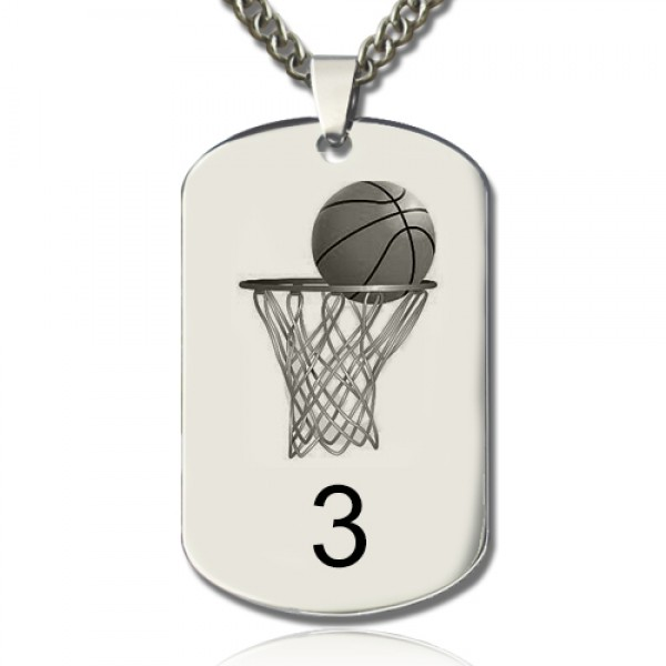 Solid White Gold Basketball Dog Tag Name Necklace
