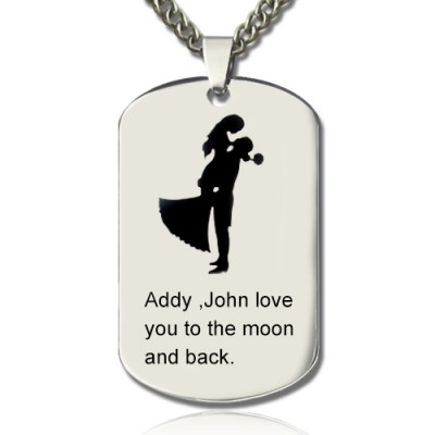 Solid White Gold Couple Love Dog Tag Name Necklace
