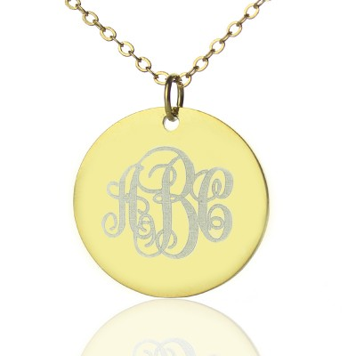 18CT Gold Vine Font Disc Engraved Monogram Necklace
