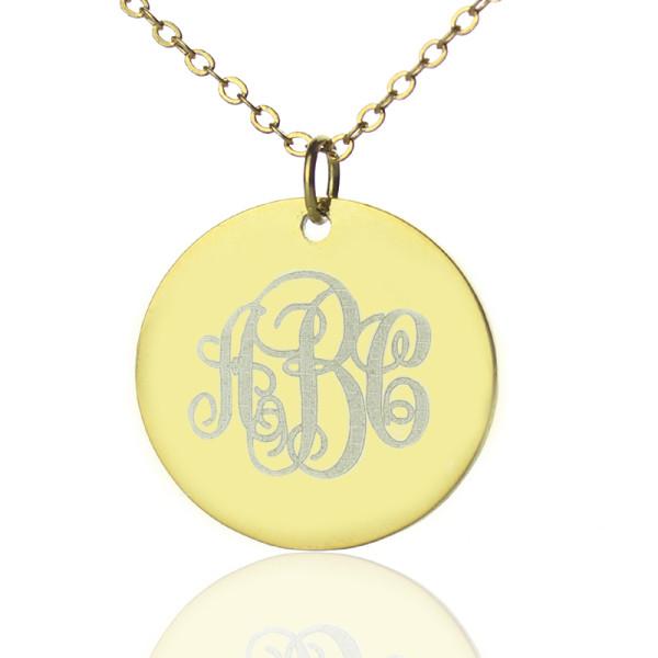 18CT Gold Vine Font Disc Engraved Monogram Necklace