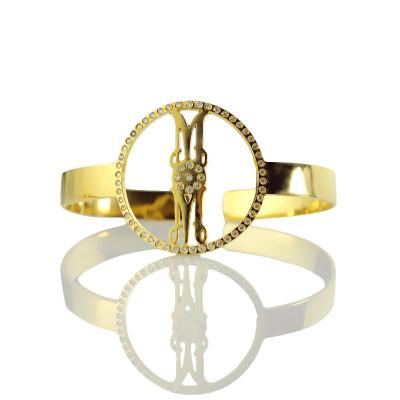Personal Gold Monogram Circle Bracelet With Birthstone