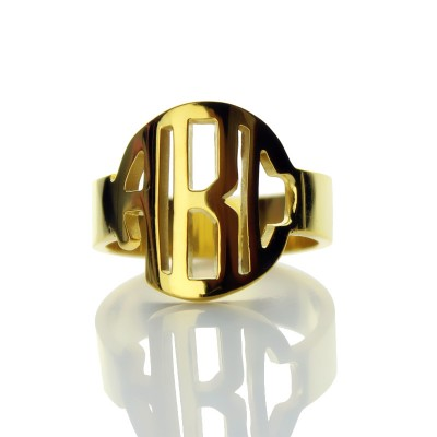 Circle Block Monogram 3 Initials Solid Gold Ring