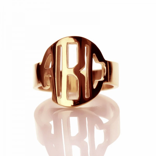 Circle Block Monogram 3 Initials Solid Gold Ring Solid Rose Solid Gold Ring