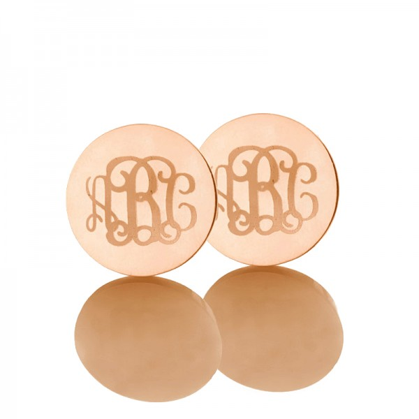 Circle Monogram 3 Initial Earrings Name Earrings Solid 18CT Rose Gold
