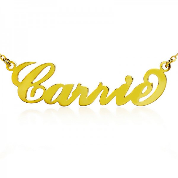Personalised Carrie Name Necklace Solid Gold 18ct