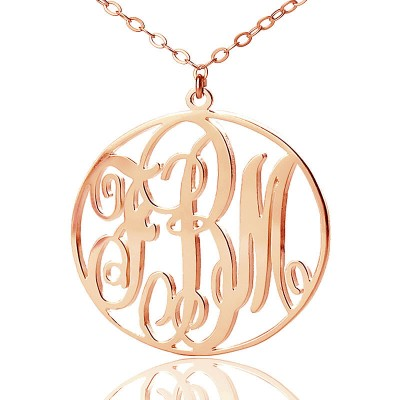 Personalised 18CT Rose Gold Vine Font Circle Initial Monogram Necklace