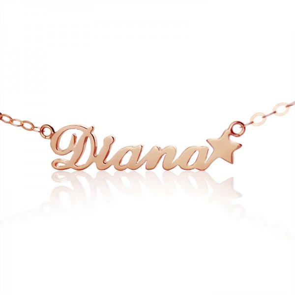 18CT Rose Gold Carrie Style Name Necklace With Star