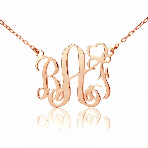 Personalised Initial Monogram Necklace 18CT Solid Rose Gold With Heart