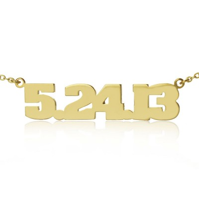 Personial Solid Gold Number Necklace