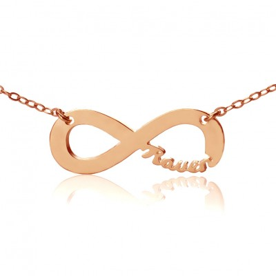Solid Rose Gold 18CT Infinity Name Necklace