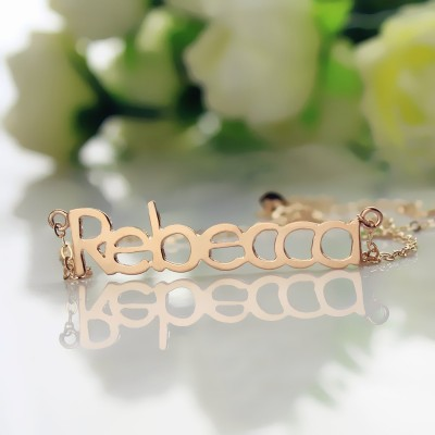 18CT Rose Gold Rebecca Style Name Necklace