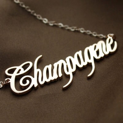 Solid Rose Gold Personalised Champagne Font Name Necklace