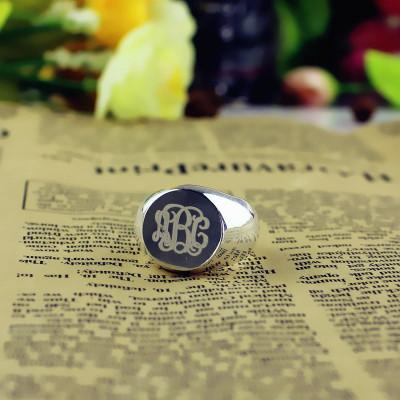 Signet Ring 18CT White Gold Engraved Monogram