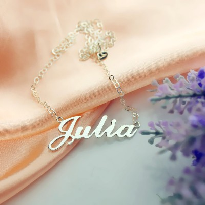 Solid 18CT White Gold Julia Style Name Necklace